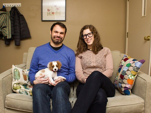 Empire! Empire! (I Was a Lonely Estate) members Keith and Cathy Latinen with their dog
