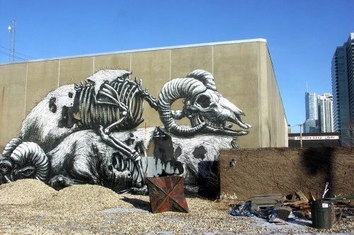 In the yard outside the Illuminated brewery youll find this piece by Belgian street artist ROA.