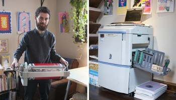 Left: Clay Hickson and the Risograph