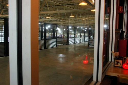 Looking out on the catwalks from the tap room