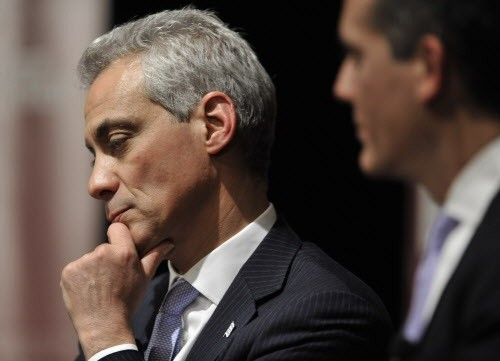 Mayor Rahm appears to be deep in though in this picture, but when it comes to the ISATs, its hard to know what hes thinking.