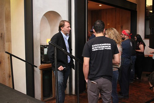Michael Ruhlman talks to fans before the event at Balena.