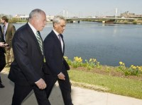 Not pictured: Governor Quinn a step ahead of Rahm.