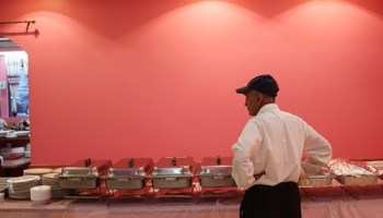 Readying the buffet at Khan BBQ