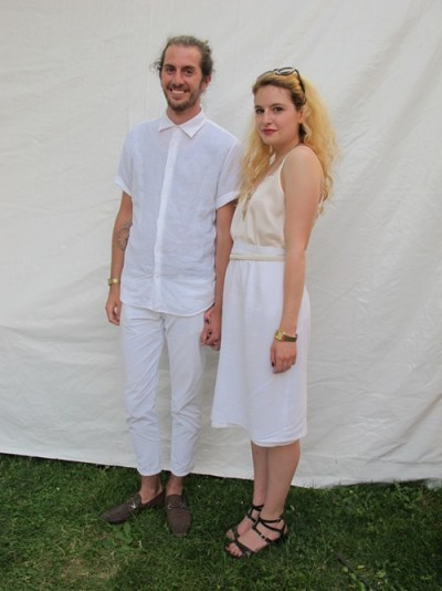 Rody and Gabrielle. Rocy came to see: DIIV and Grimes. Why this outfit? All white sounded fun. Gabrielle came to see: Slowdive, Grimes, St. Vincent and FKA Twiggs. Why this outfit? I like the summery linen skirt, and we wanted to match.