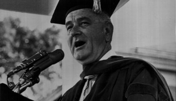 Lyndon Johnson delivered the commencement address at Howard University in June 1965.