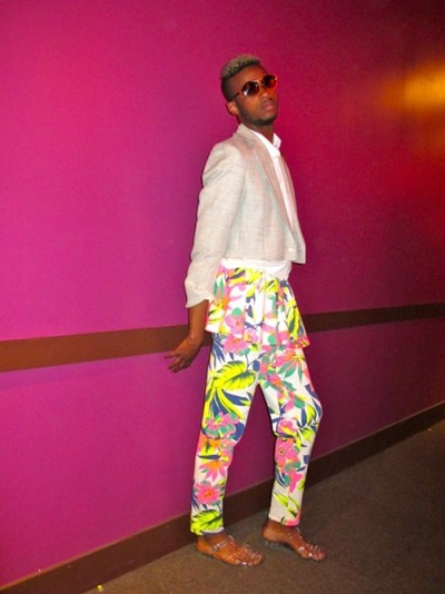 Queen! host Mister Wallace made a winning tropical/classic mix turning a jumpsuit into a fabulous pair of peplum trousers.