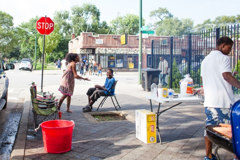 Tamar Manasseh, left, has kept daily vigil at 75th and Stewart for more than a year. - DANIELLE A. SCRUGGS