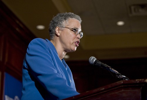 Under repeated questioning, Cook County board president Toni Preckwinkle said that shes not going to say whether shes running for mayor.