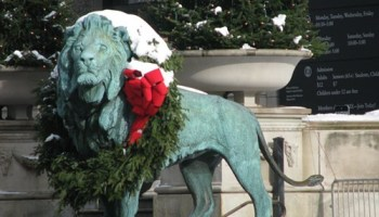 Visit this spirited lion on Christmas Eve.