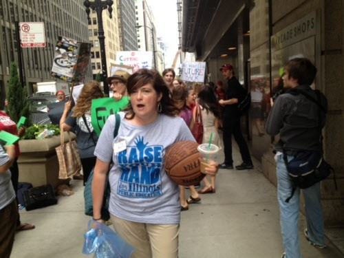 Wendy Katten, leading protesters to the DePaul Center this past June