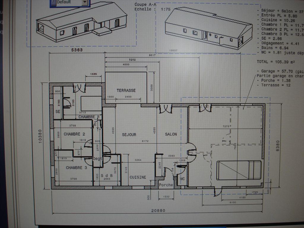 Plan Maison Plain Pied 105 M2 Garage 57m2