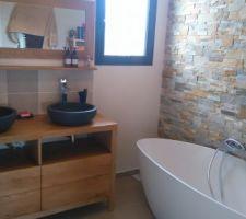 salle de bain parement brique pierre