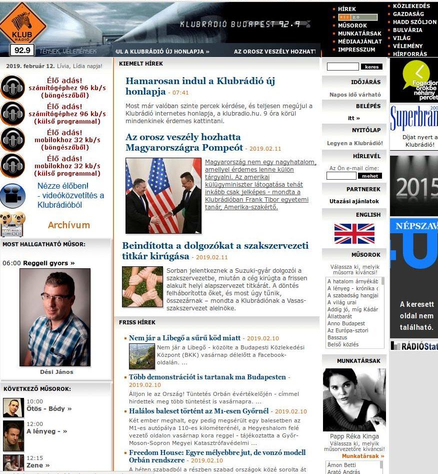 A Klubrádió weboldalának régi felülete
