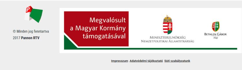 A Pannon RTV honlapján feliratok is jelzik a magyar állami pénzeket