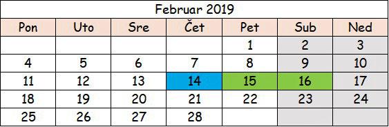 Februar 2019 Srbija slobodni dani