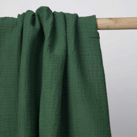 tissu double gaze de coton vert myrthe