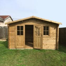 abri en bois massif 12m plus 28mm traite teinte marron gardy shelter