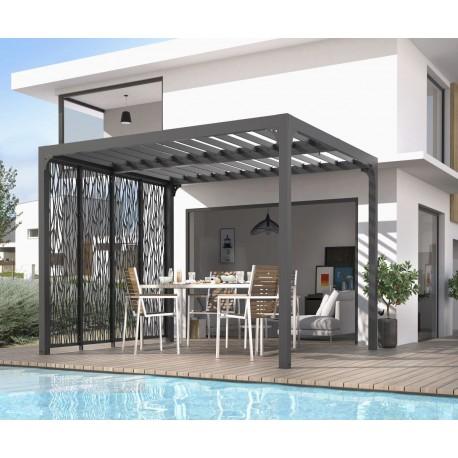 pergola bioclimatique aluminium anthracite 10 80m toit avec lames ovales 4 panneaux moucharabieh gris pour cote 3m habrita