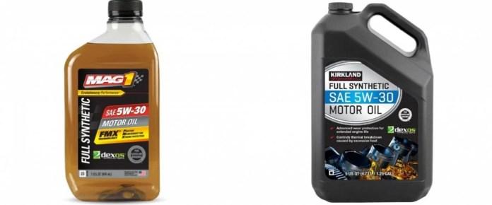 Mag1 motor oil and Kirkland Signature motor oil