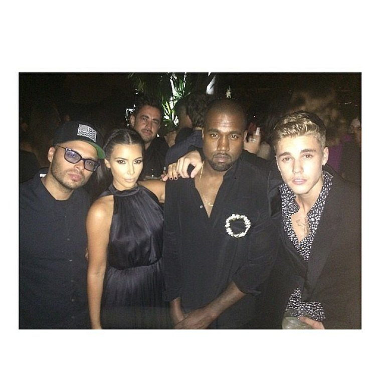 Kim and Kanye posed for a picture with Justin and restaurant and nightclub entrepreneur Richie Akiva. Source: Instagram user kimkardashian