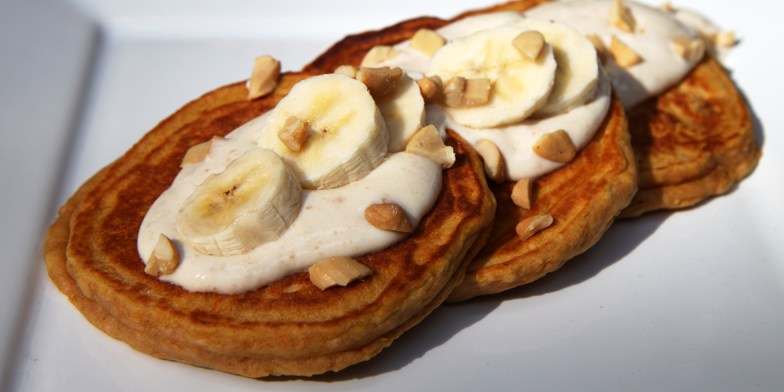 Banana Sweet Potato Pancake With Honey Nut Yogurt