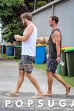 Chris e Liam Hemsworth vanno a piedi nudi e mangiano gli hamburger giù sotto