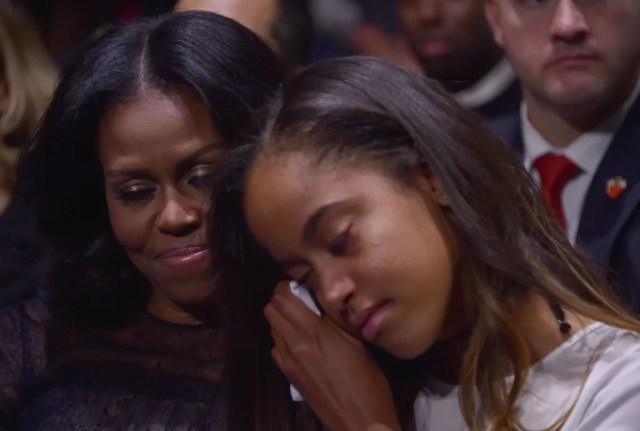 Image result for michelle and malia obama in last speech obama as president