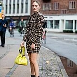 Fall Outfit Idea: Plaid Dress + Ankle Boots + Neon Bag