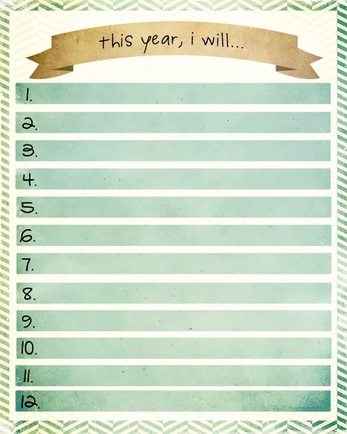 Simply Beautiful Resolutions Printable | 2014 New Year's ...