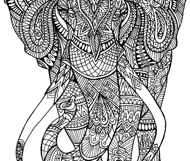 Get The Coloring Page Elephant  Printable Adult Coloring