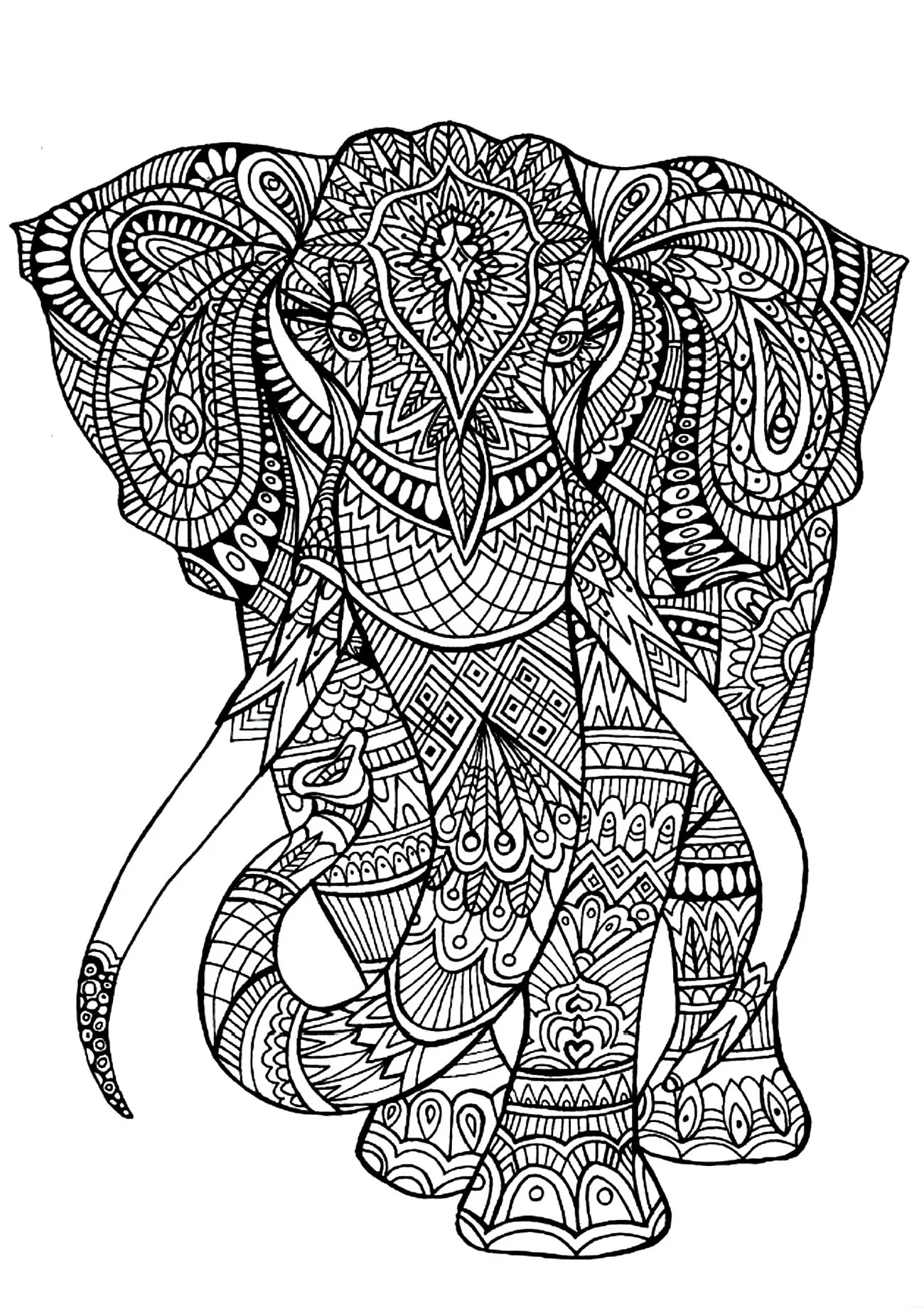 Get The Coloring Page Elephant 50 Printable Adult Coloring Pages That Will Help You De Stress Popsugar Smart Living Photo 5