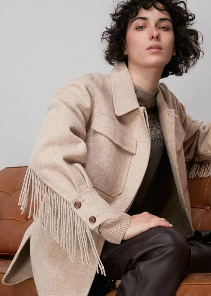Whistles Fringe Detail Wool Overshirt