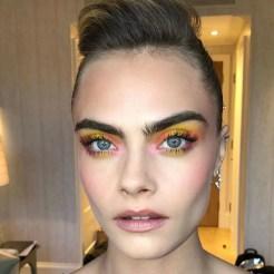 Decorative Image of Cara Delevinge exhibiting a summer make up look
