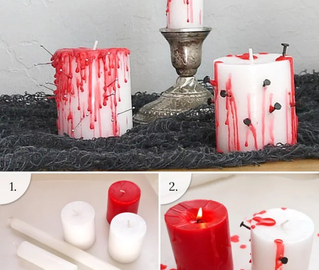 Transform Dollar Store Candles Into Bleeding Votives That Really Set The Tone For An Eerie Evening Of Halloween Fun We Found This Spooky Idea On Pinterest