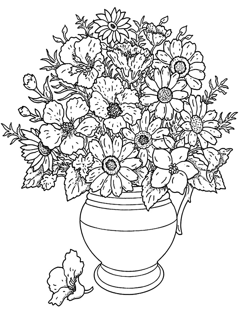 Get the coloring page: Flower bouquet | Free Printable ... | flower coloring pages for adults
