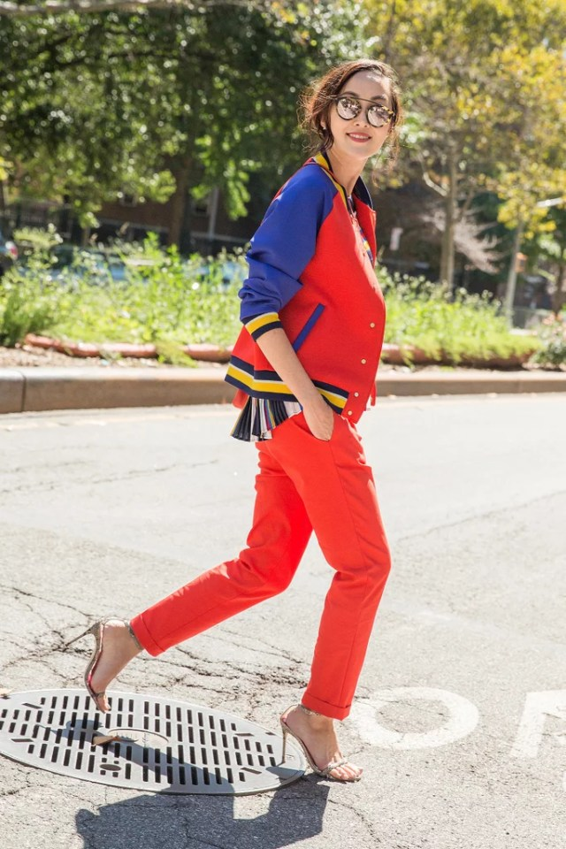 A Varsity Jacket and Roomy Trousers