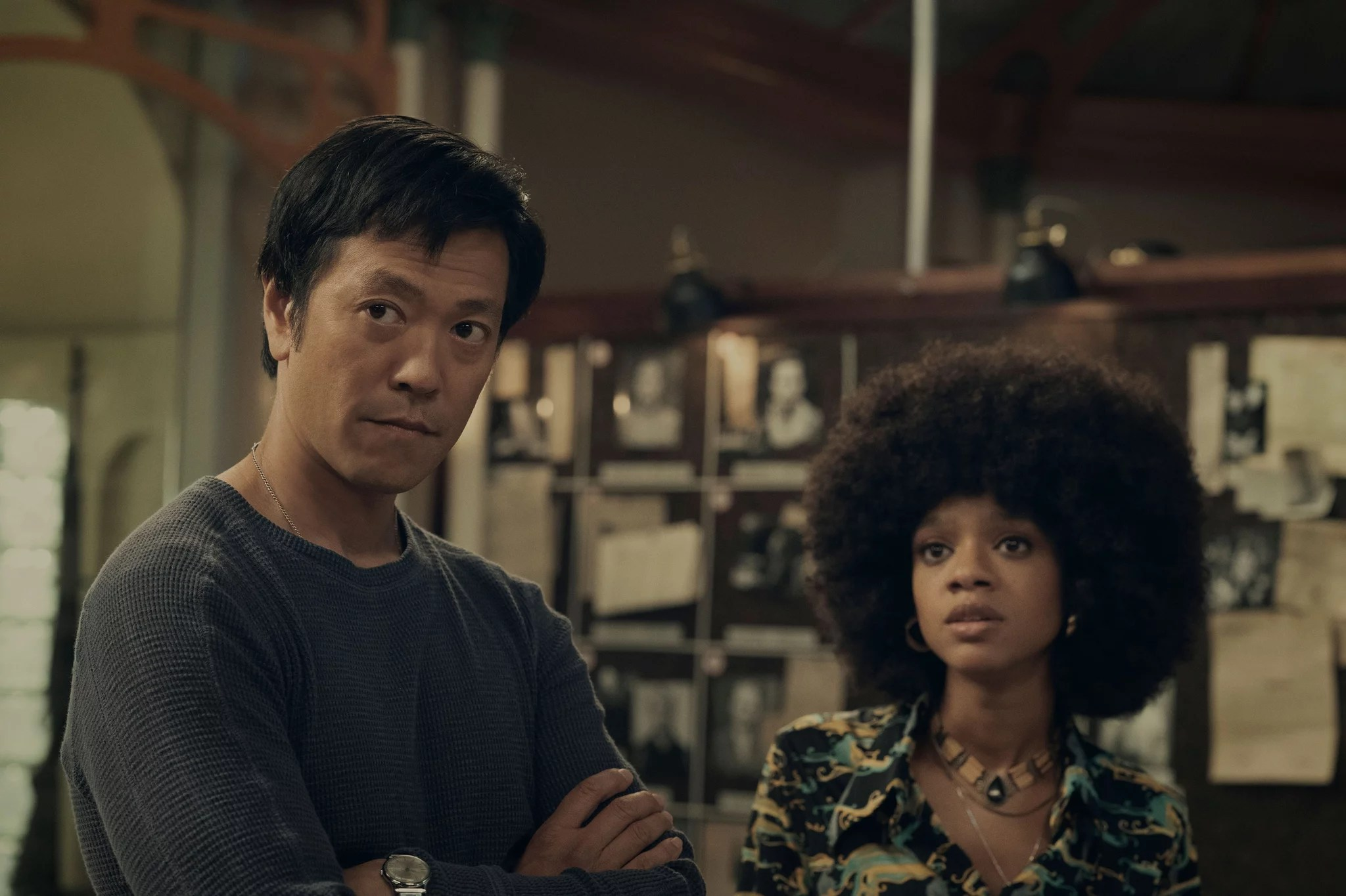 HUNTERS, from left: Louis Ozawa, Tiffany Boone, (Season 1, Episode 109, aired Feb. 21, 2020). photo: Christopher Saunders / Amazon / Courtesy Everett Collection