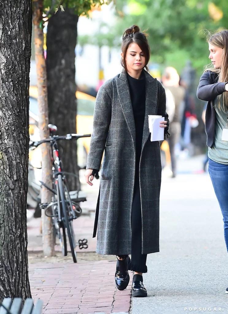 Selena Gomezs Plaid Coat POPSUGAR Fashion