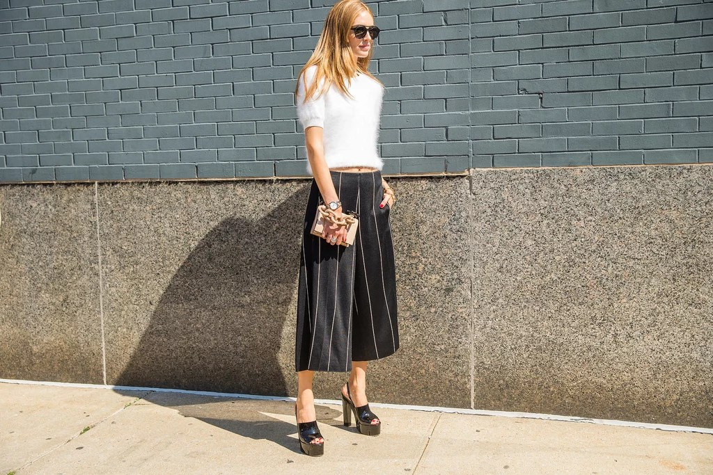 A Fuzzy Crop Top Culottes And Platforms Spring Outfit