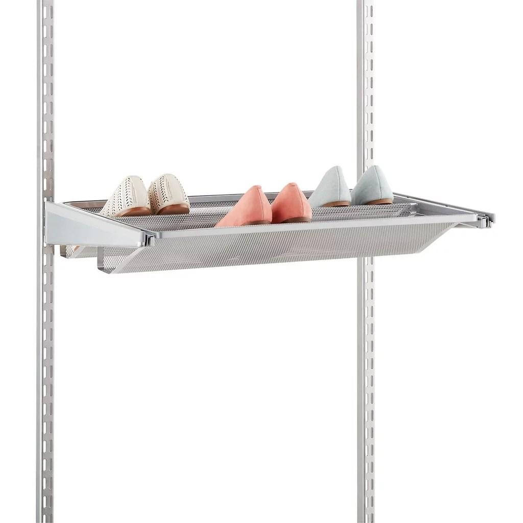 Platinum Elfa Gliding Mesh Shoe Shelves Best Organization
