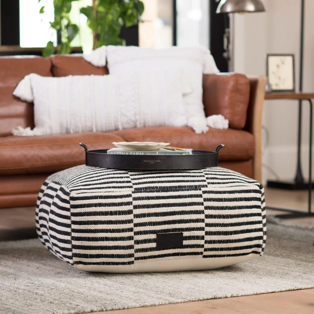 Keegan Striped Pouf