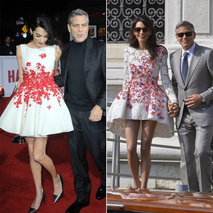Amal Clooney wearing red floral Giambattista Valli couture dress