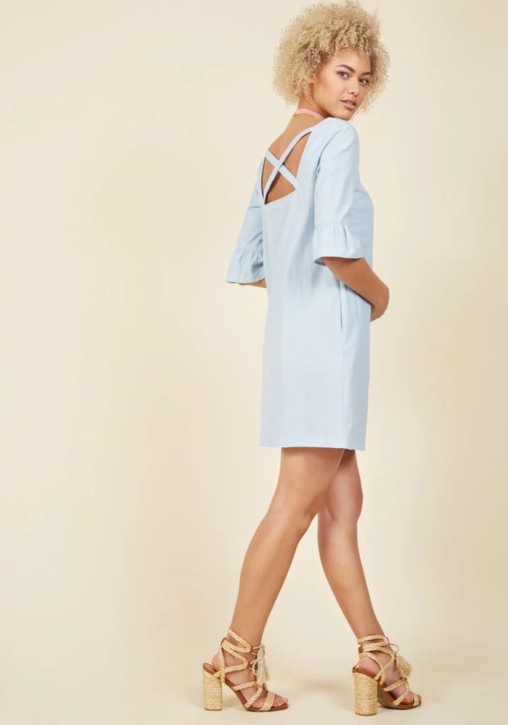 ModCloth's Crisp Combination Shift Dress ($70) has a crisscross back detail you can't miss.