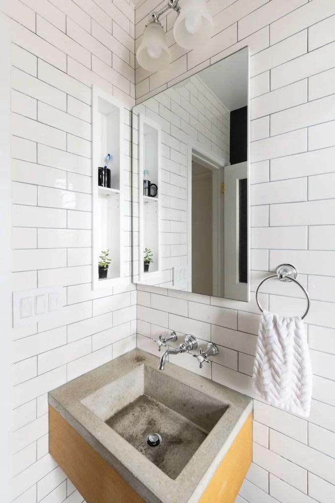 white subway tile small bathroom