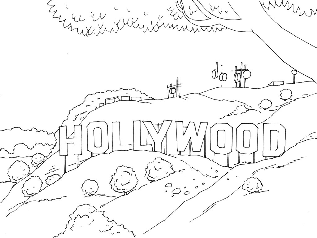 Get The Colouring Page Hollywood Sign