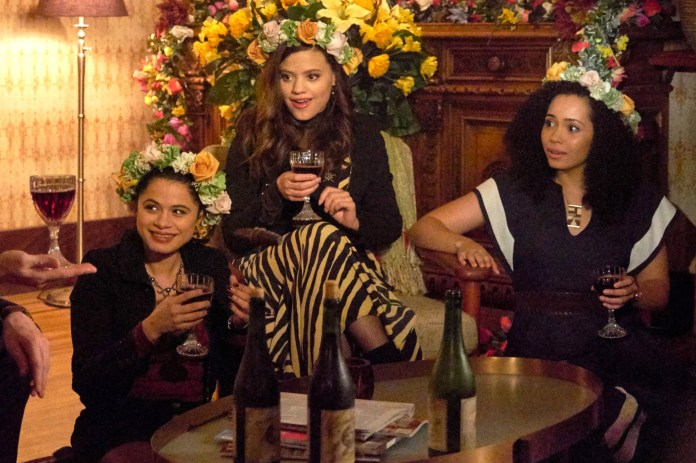 CHARMED, from left: Melonie Diaz, Sarah Jeffery, Madeleine Mantock, 'Out of Scythe', (Season 1, ep. 107, aired Nov. 25, 2018). photo: Michael Courtney / The CW / Courtesy: Everett Collection