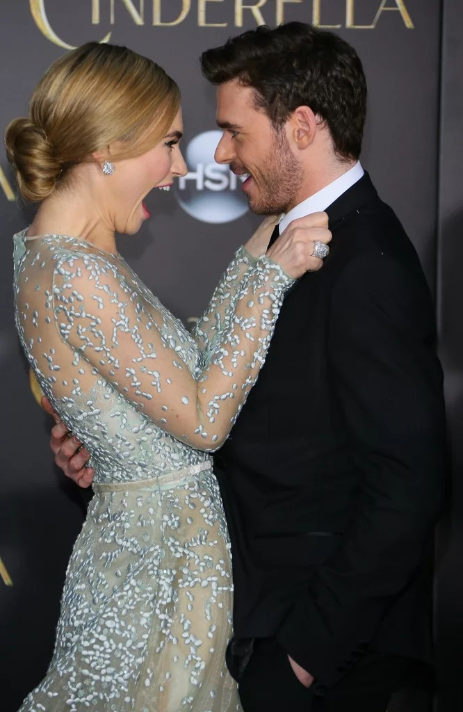 Lily James and Richard Madden at Cinderella Premiere ...