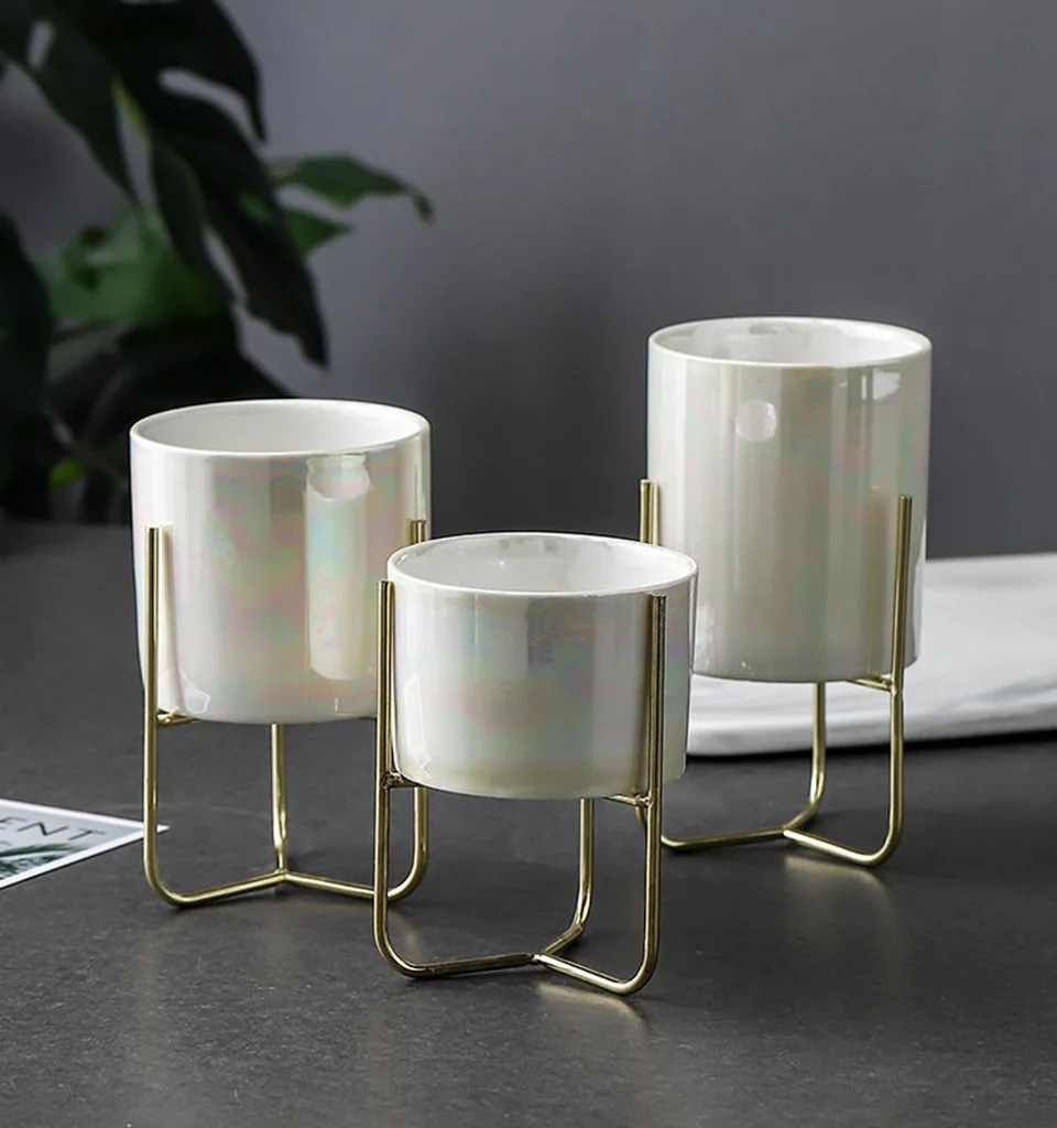 Trio Set Of Pearlescent Ceramic Plant Pot Holders Etsy Has Thousands Of Pretty Home Decor Pieces These Are The 23 I D Buy Popsugar Home Photo 18