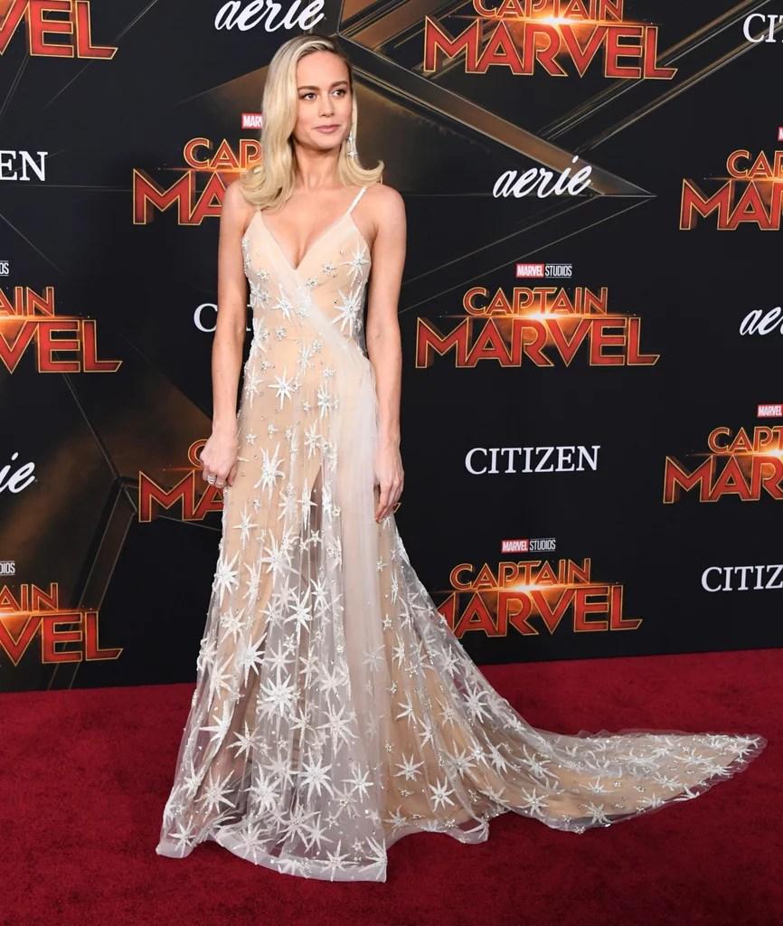 brie larson gold gown at captain marvel premiere   popsugar fashion